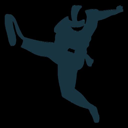 Jugador pierna equipo pelota casco f?tbol silueta
