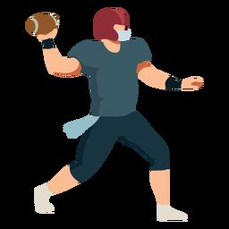 Jugador equipo pelota casco futbol plano