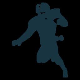 Jugador corriendo pelota traje casco futbol silueta