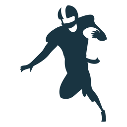 Player running ball outfit helmet football silhouette