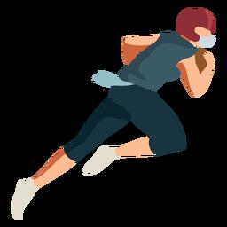 Jugador corriendo casco de fútbol balón traje plano