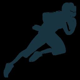 Jogador, executando, capacete, bola, equipamento, futebol, silueta