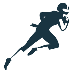 Jugador corriendo casco pelota atuendo futbol silueta