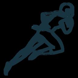 Jogador, executando, equipamento, futebol, capacete, bola, acidente vascular cerebral