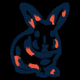 Conejo vista frontal duotono