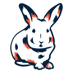 Duotone de vista frontal de coelho
