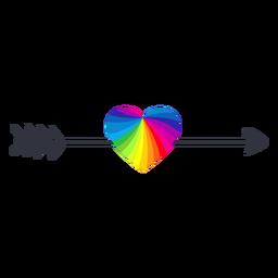 Etiqueta engomada del lgbt del corazón de la flecha del arco iris