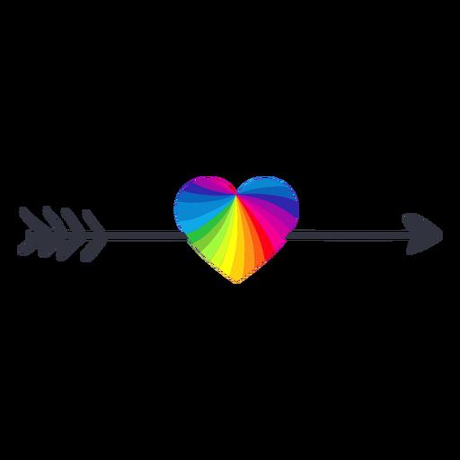 Etiqueta engomada del lgbt del corazón de la flecha del arco iris Transparent PNG