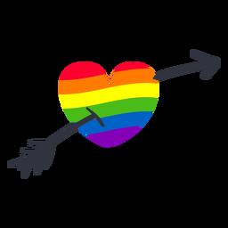 Etiqueta engomada del lgbt de la flecha del corazón del arco iris