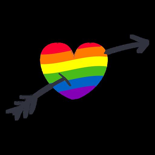 Etiqueta engomada del lgbt de la flecha del corazón del arco iris Transparent PNG