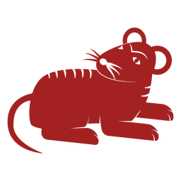Rat mouse tail chinese astrology silhouette