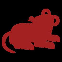 Silhueta de astrologia chinesa com cauda de rato e rato