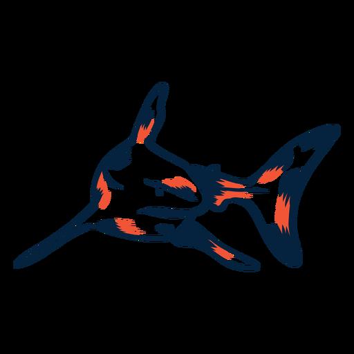 Tiburon nadando duotono Transparent PNG