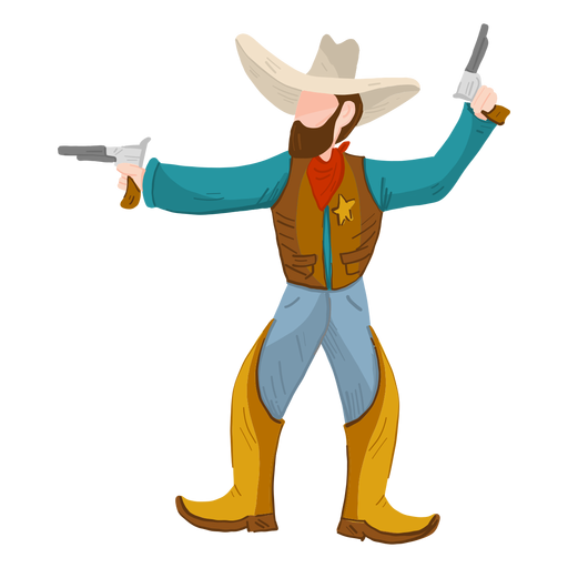 Sheriff with two guns Transparent PNG