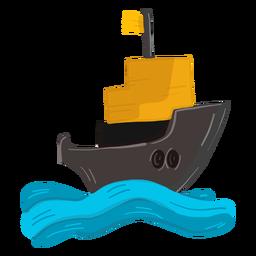 Ilustração de onda de convés de navio de mar