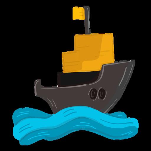 Ilustración de ola de cubierta de mar de barco