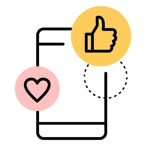 Icono de teléfono inteligente como corazón Transparent PNG