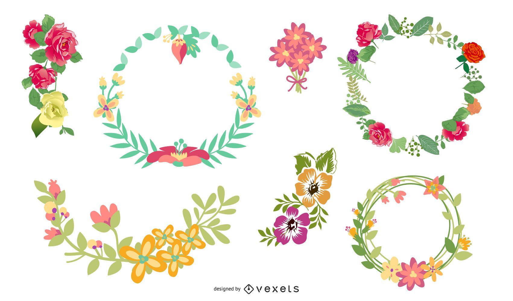 Bordes florales vector gratuito