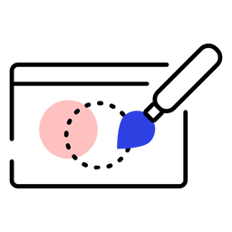 Traçado de pintura do ponto de pincel do ícone de tablet