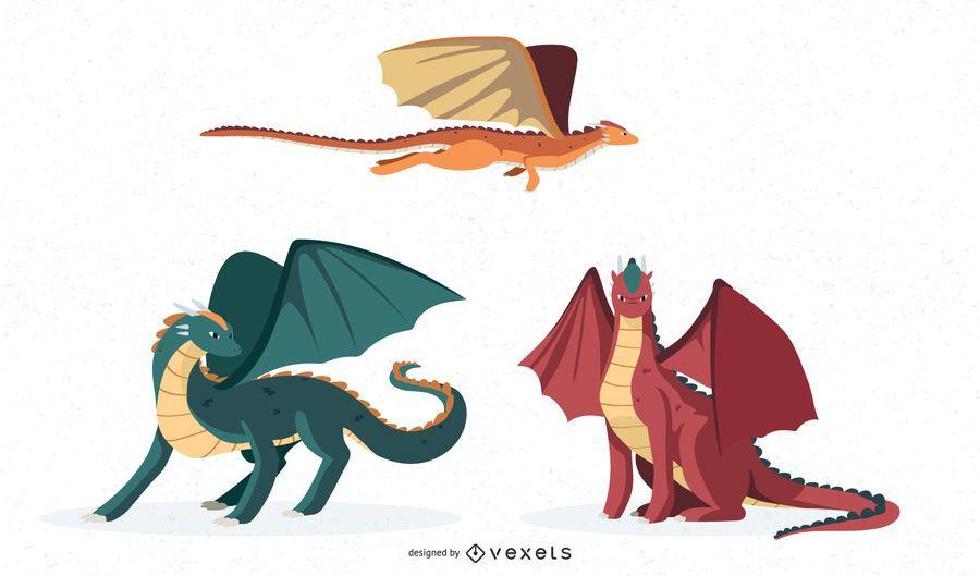 Conjunto de ilustraciones de dragón