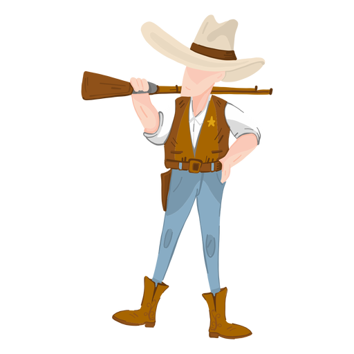 Sheriff occidental con rifle Transparent PNG