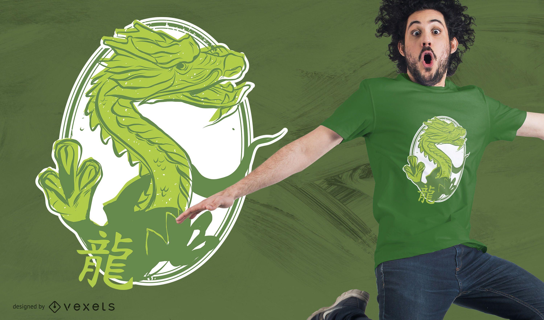 diseño de camiseta de dragón japonés