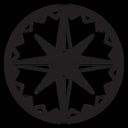Windrose flecha nord este oeste sur silueta