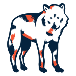 Wolf standing duotone