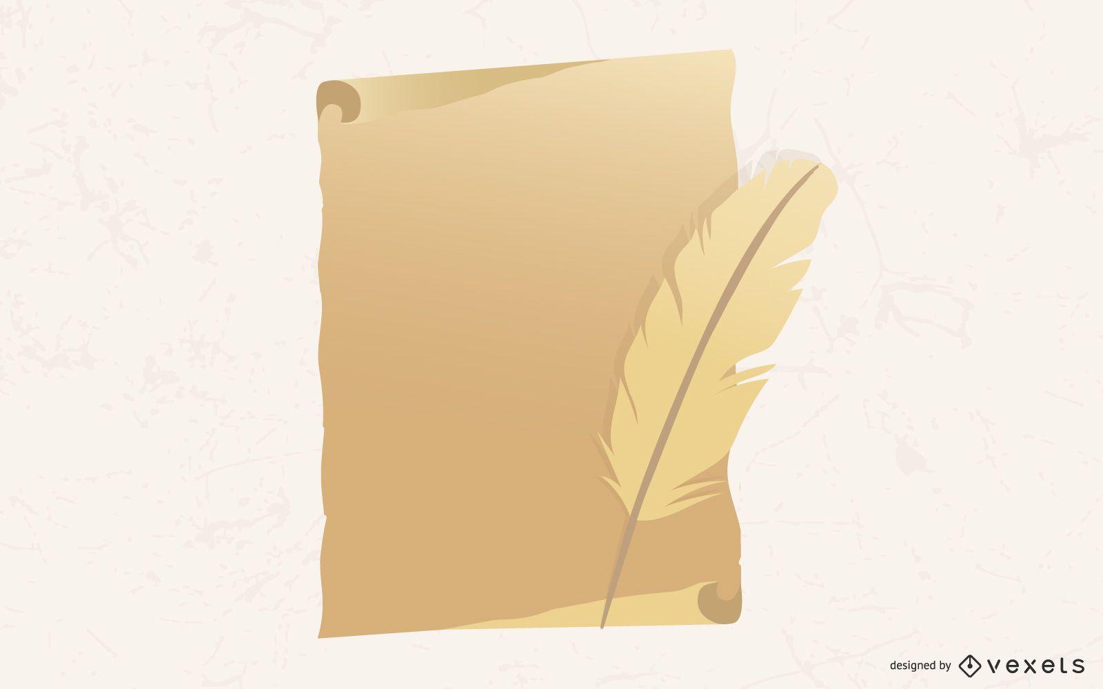 Papel viejo con pluma