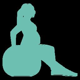Mulher, barriga, ballon, gravidez, silueta