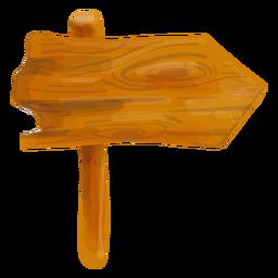 Placa de sinal de seta de madeira