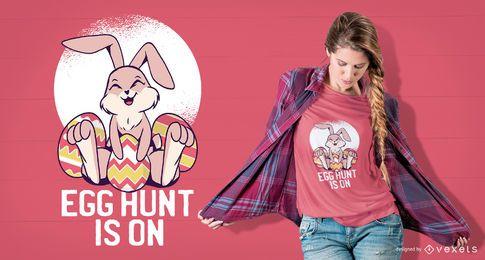 Diseño lindo de la camiseta del conejito de pascua