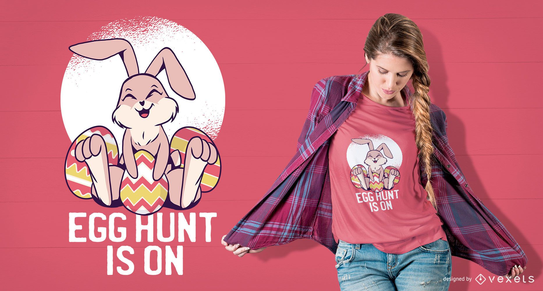 Lindo diseño de camiseta de conejito de pascua