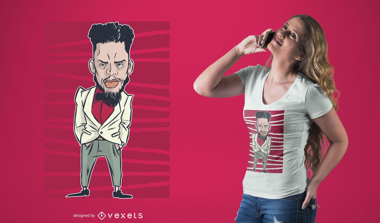 Diseño de camiseta de personaje genial