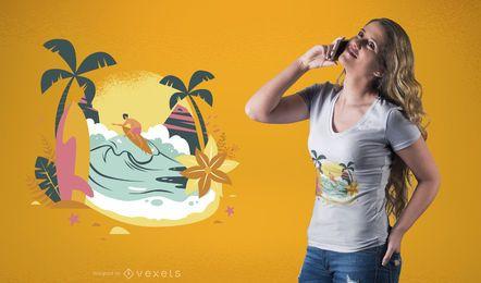 Diseño de camiseta Emoji surfista