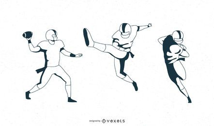 Football players vector pack