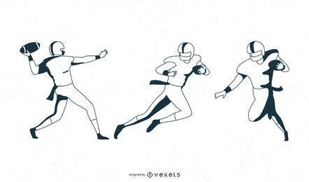 Monochrome football player set