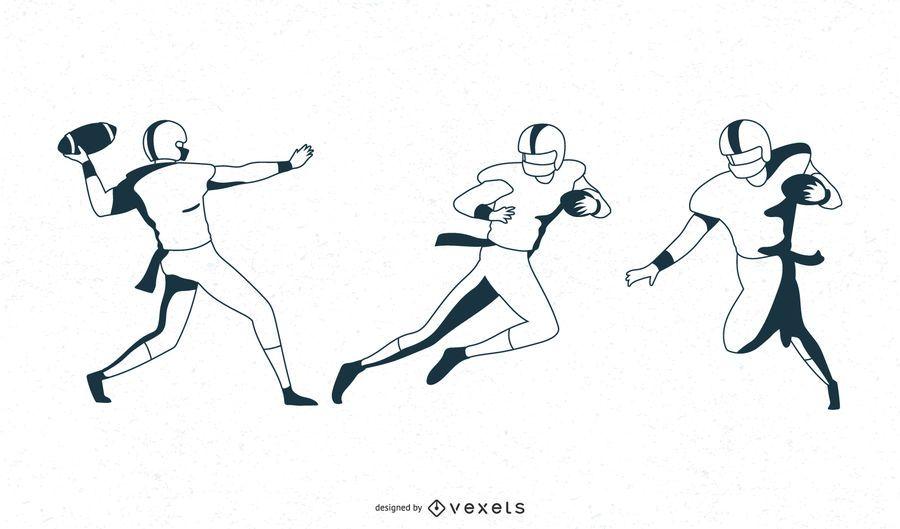 Monochrome football player set