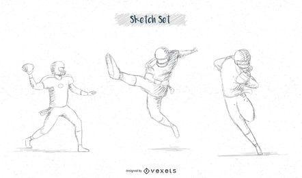 Conjunto de desenho de jogador de futebol