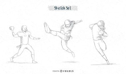 Football player sketch set