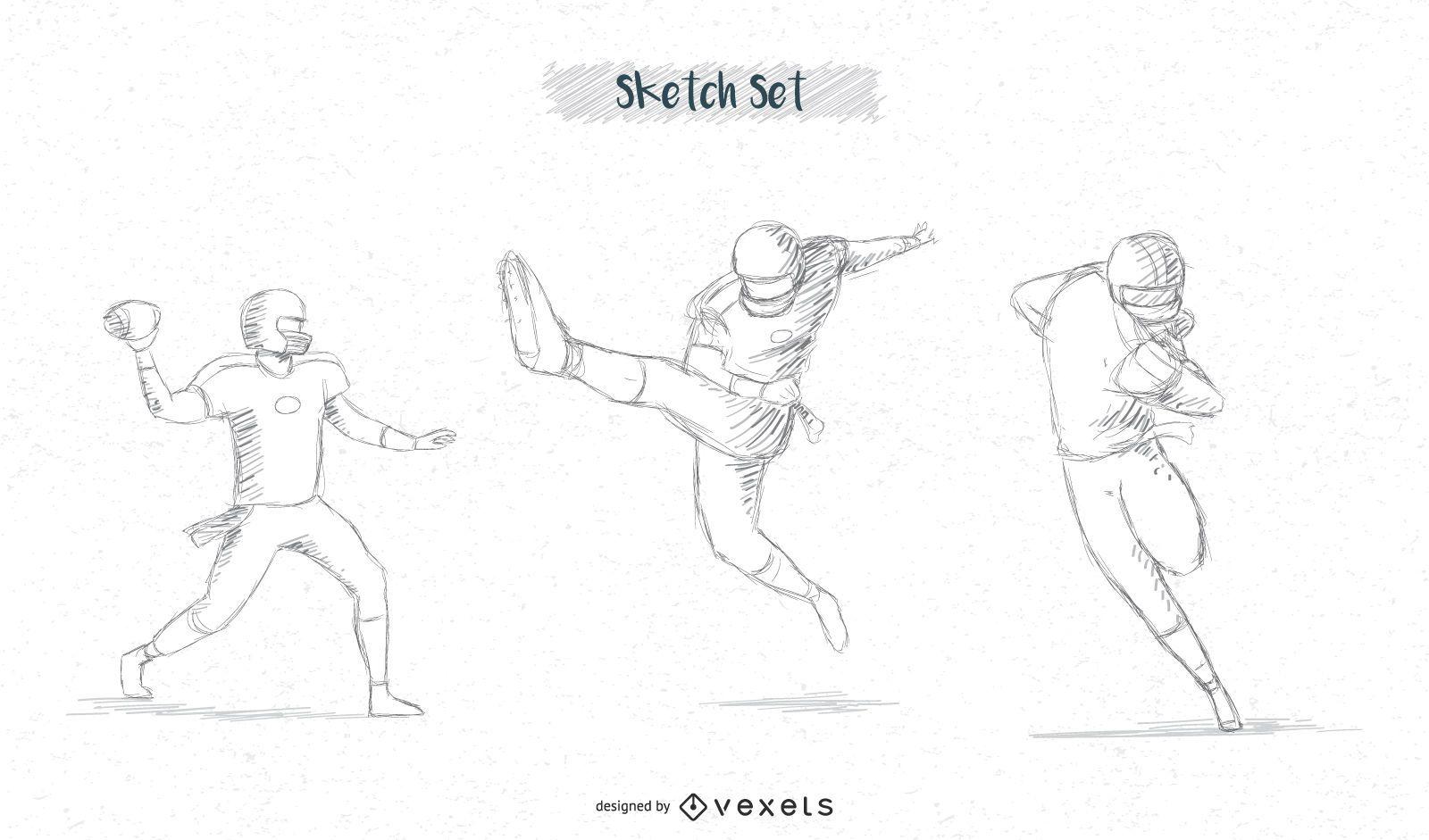 Conjunto de bocetos de jugador de fútbol
