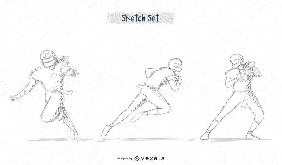pacote de esboço de jogador de futebol # 3