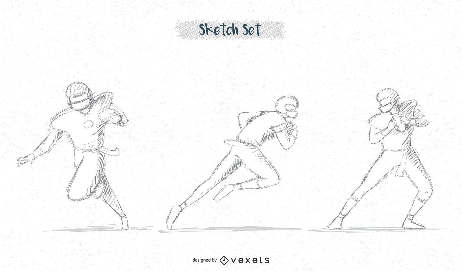 paquete de bocetos de jugador de fútbol # 3