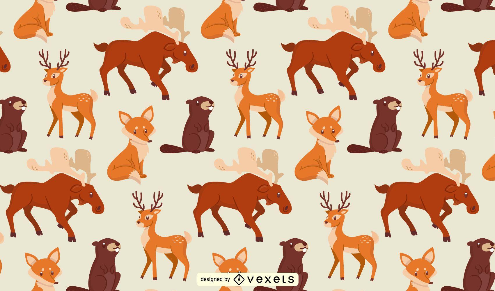 Patrón de animales del bosque