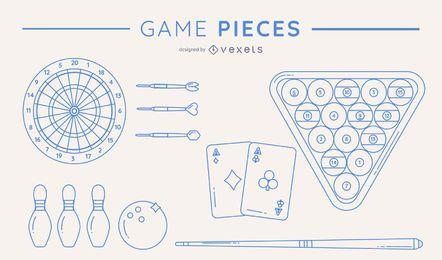 Pacote de peças de jogo de silhuetas