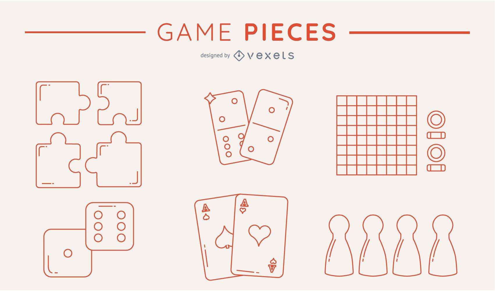 Paquete de piezas de juego con silueta