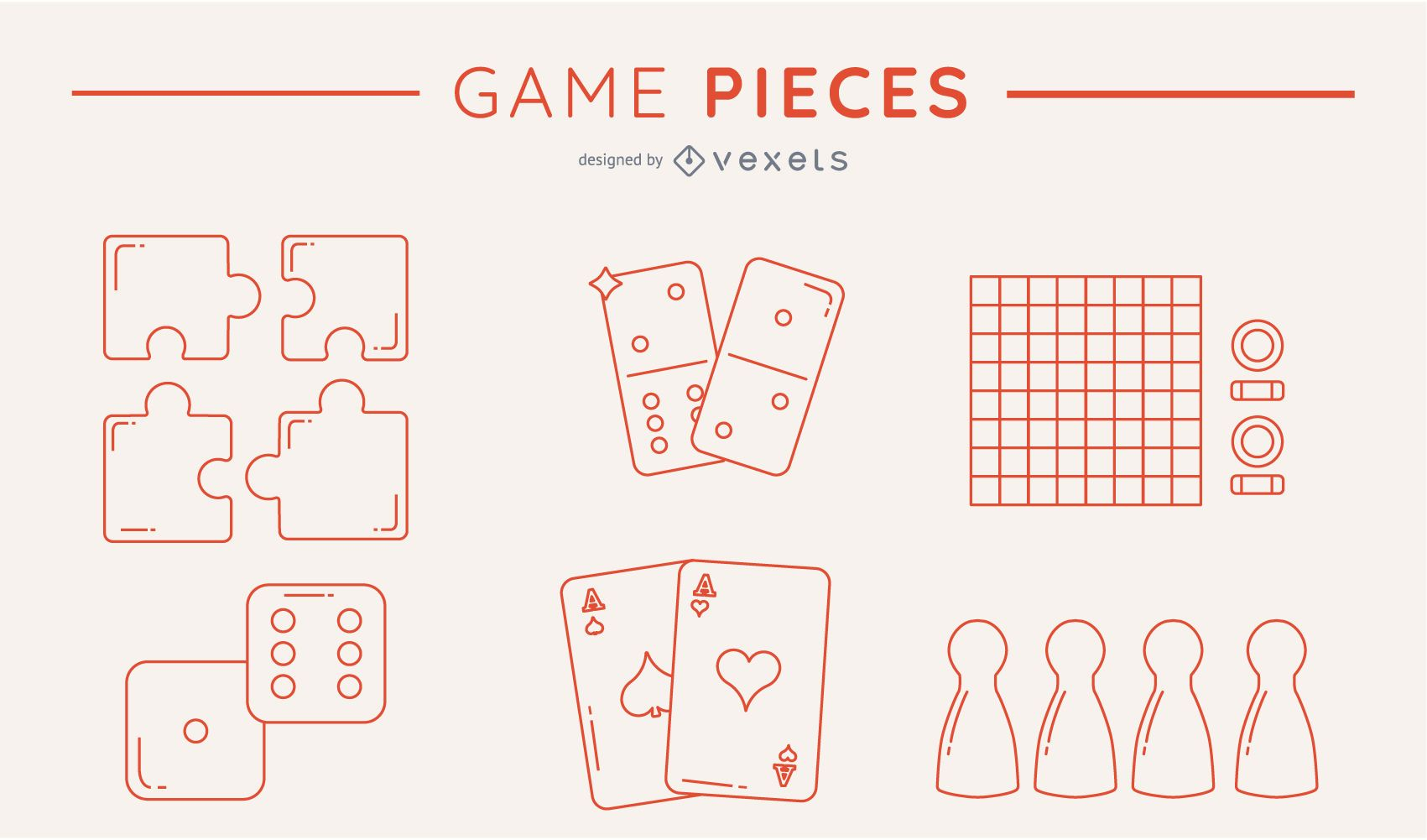 Silhouetted game piece pack