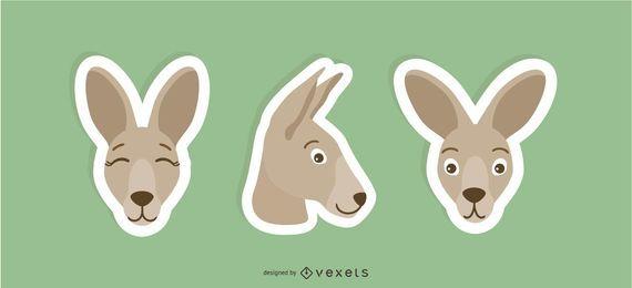 conjunto de adesivos de canguru