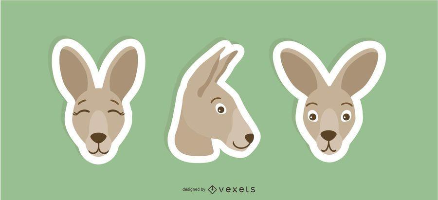 kangaroo sticker set