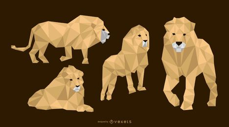 Niedriger polygonaler Löwe